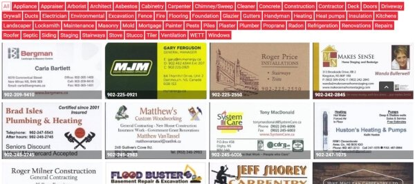 Over 200 listings of professionals throughout the Annapolis Valley.
